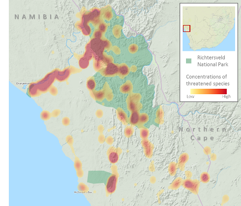 Heatmap of high concentrations of threatened species in the Richtersveld